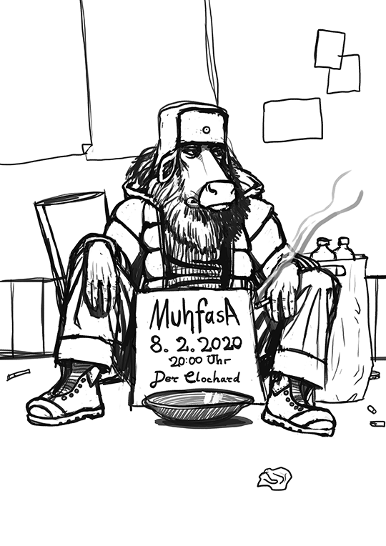 Sketch for the concert poster for the Mufhasa gig in the pub Clochard in Hamburg.